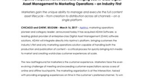 Aprimo Acquires ADAM Software, Bringing Best in Class Digital Asset Management to Marketing Operations