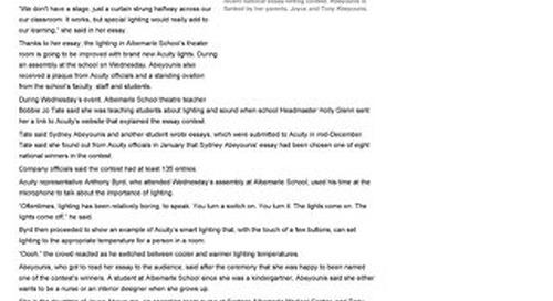 Lighting for Pupils Winner News Clip