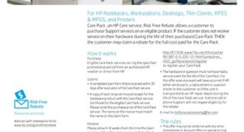 HP, Inc. Offer: Risk Free Rebate for Notebooks, Workstations, Desktops, Thin Clients, RPOS & MPOS, and Printers