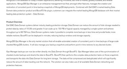 Solution Brief: Dell EMC DD BoostFS and MongoDB Ops Manager