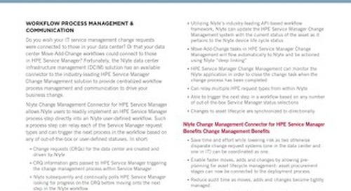 Nlyte Change Management Connector for HP Service Manager Data Sheet
