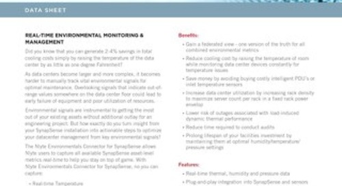 Nlyte Environmentals Connector for SynapSense Data Sheet