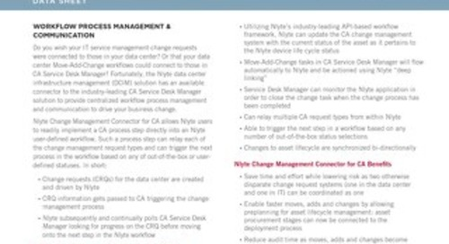 Nlyte Change Management Connector for CA Data Sheet