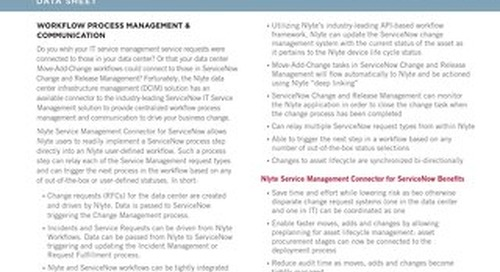 Nlyte Service Management Connector for ServiceNow Data Sheet