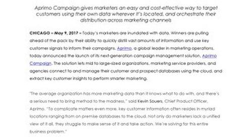 Aprimo Announces New Cloud-Based Campaign Management Solution