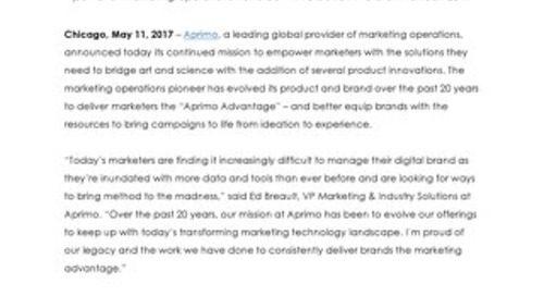 """Aprimo Brings Innovation to the Next Level with Product Updates to Equip Marketers with the """"Aprimo Advantage"""""""