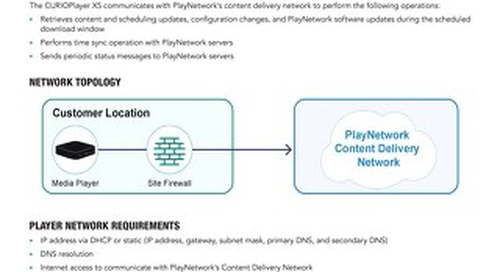 PlayNetwork CURIOPlayerX5 Network Requirements