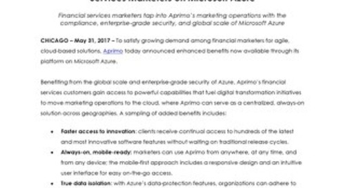 Aprimo Accelerates Digital Transformation for Financial Services Marketers on Microsoft Azure