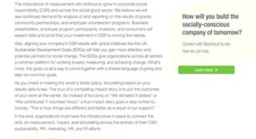Trends in CSR: Measurement and Storytelling