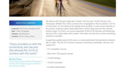 Cisco Securely Connects the Rio 2016 Olympics to the World