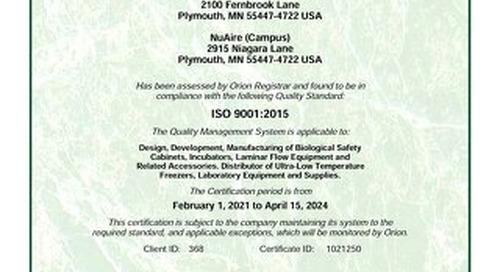 [Certificate] ISO Certificate 9001:2015