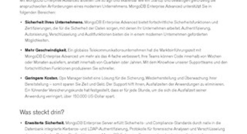 MongoDB Enterprise Advanced – Datenblatt