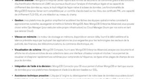 Fiche technique de MongoDB Enterprise Advanced