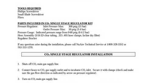 [Bulletin] Single Stage CO2 Regulator NU-1590 Installation Instructions