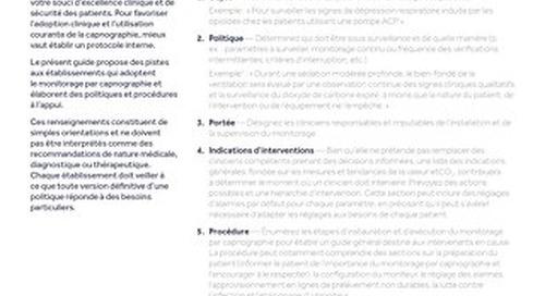 Guide de création de politiques et procédures de monitorage de la capnographie