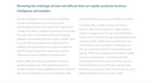 Enabling Rapid Fire BI Insight with Snowflake