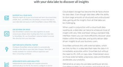 Snowflake Cloud Data Warehouse for Data Lakes