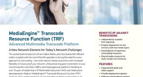 MediaEngine Transcode Resource Function (TRF) - Advanced Multimedia Transcode Platform