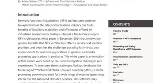 Elastic Scale Media Processing in NFV