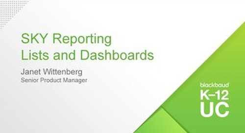 Blackbaud SKY Reporting Lists and Dashboards
