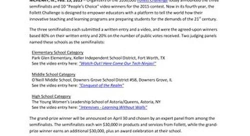 News Release: Follett Challenge Reveals Semifinalists, People's Choice Winners