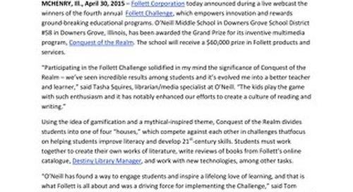 News Release: Follett Challenge Announces 2015 Winners