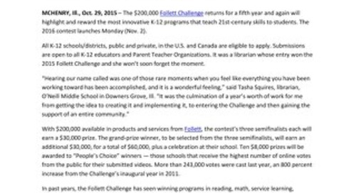 News Release: Fifth Annual Follett Challenge to Launch Monday