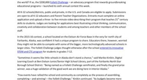 News Release: Follett Urges Schools to Share Their Stories of Unique Learning for 6th Annual Follett Challenge