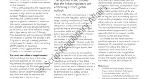 The Indian Biosimilars Guidelines - A Great Step Forward?