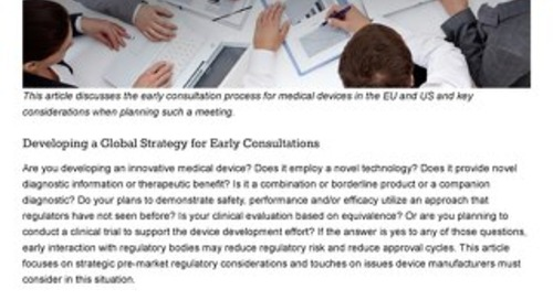 Strategic Regulatory Considerations For Early Medical Device Consultations With Global Regulatory Authorities