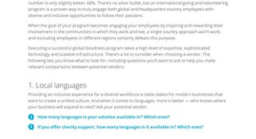 How to Compare International Employee Giving and Volunteering Solutions