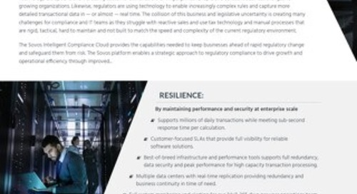 Sovos Intelligent Compliance in the Cloud datasheet