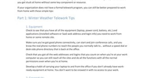 Get Winter Ready With Telework - Are You Prepared?