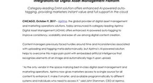 Aprimo Announces Further Innovation in AI and Ecosystem Integrations for Digital Asset Management Platform