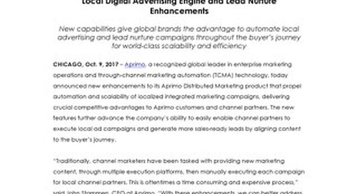 Aprimo Advances its Distributed Marketing Platform with Robust Local Digital Advertising Engine and Lead Nurture Enhancements