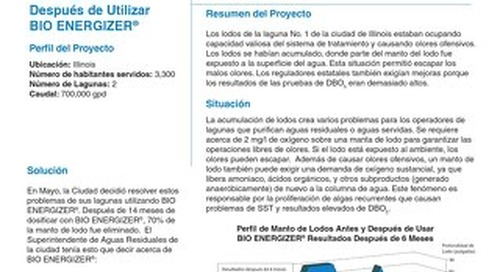 Bio Energizer Reduces Sludge, Odor, City in in IL Field Study (Spanish)