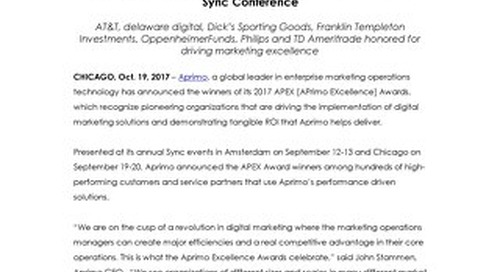 Aprimo Announces 2017 APEX Award Winners at its Annual Sync Conference