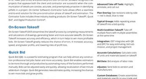 Datasheet: Contractor's Suite