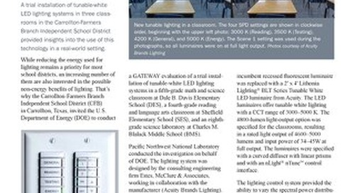 DOE REPORT BRIEF_Evaluating Tunable Lighting in Three Texas Classrooms