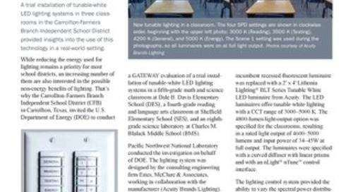 Department of Energy Report: Evaluating Tunable Lighting in Three Texas Classrooms