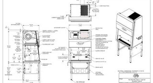 [Drawing] NU-543-300 Class II, Type A2 Biosafety Cabinet
