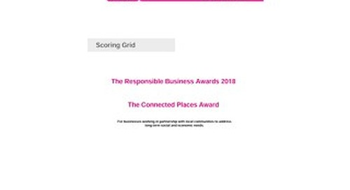 The Connected Places Award Scoring grid 2018