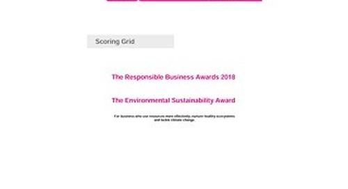The Environmental Sustainability Award Scoring grid 2018