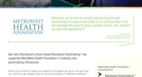 Metrowest Health Foundation - Customer Story
