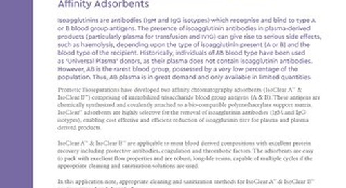 Re-use, Cleaning and Sanitisation of IsoClear™ Affinity Adsorbents