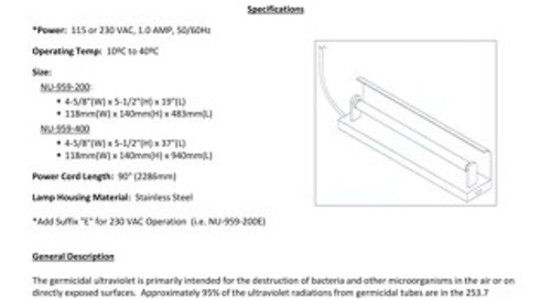 [Bulletin] NU-959 UV Light Operation and Installation Instructions