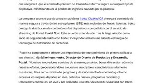 Irdeto extiende su acuerdo como socio de seguridad con Foxtel