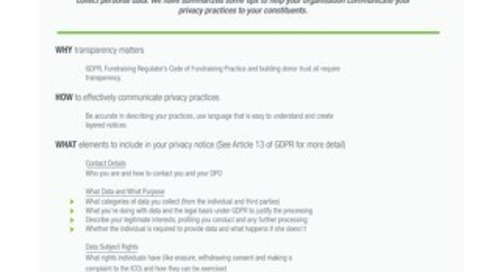 Worksheet: Communicating Privacy Practices to Donors
