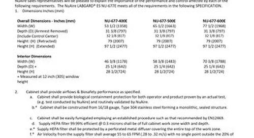 [Spec] NU-677E Class II Animal Handling Biosafety Cabinet Specification (230V)