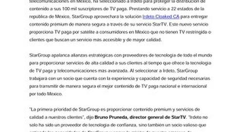 StarGroup selecciona a Irdeto para entregar contenido de manera segura a través de su servicio StarTV